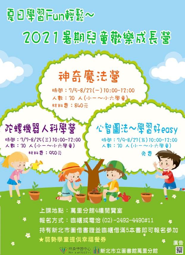 【新北市立圖書館萬里分館】《藝文生活圈》夏日學習Fun輕鬆~2021暑期兒童歡樂成長營:心智圖法~學習好easy