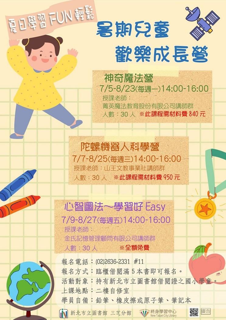 【新北市立圖書館三芝分館】《藝文生活圈》夏日學習Fun輕鬆~2021暑期兒童歡樂成長營:心智圖法~學習好easy
